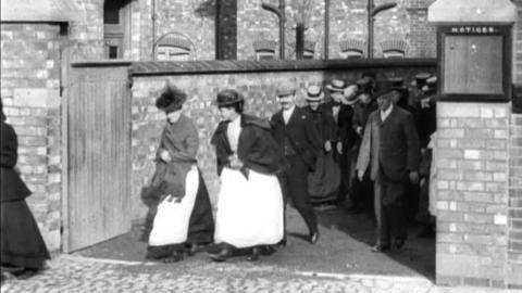 Workforce Leaving Cartwright & Warner Hosiery Works, Loughborough (1900)